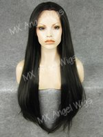 Iwona Hair Straight Extra Long Two Tone Brown Mix Wig 22 # 2/6 Demi-mains à la main résistant à la chaleur en perles synthétiques en dentelle