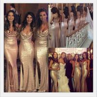 Wholesale Ruffle Halter Bride - Sexy Sequins Bridesmaid Dresses V Neck Backless Bling Bling Gold Dresses For The Bride Mermaid Side Split Long