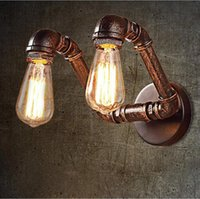 Wholesale Wholesale Iron Pipes - American Vintage RH Country Wall Sconce Iron Art Double Heads Personality Pump Pipe Wall Light Edison E27 For Bar Warehouse Cafe