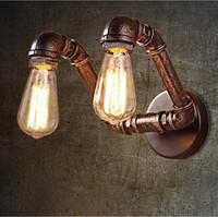 lámpara de cabeza de agua al por mayor-Lámpara de pared Vintage Water Pipe American Country Industrial Styl RH Loft 2 cabezas Lámpara de pared Vintage Bronce Iron Art Lustree