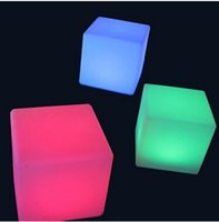 Wholesale Crystal Cube Lamps - 20cm Lounge Colored PE RGB LED Cubes grow cube chair light stool cube led cube chair Table Lamps free shipping