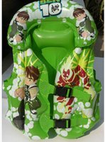 Wholesale Kids Inflatable Life Jacket - Wholesale- New Safety Thick PVC Inflatable Ben 10 Swimming Suit Clothing Kid Life Jacket Children Nontoxic Cartoon Swimsuit Life Vest Kid