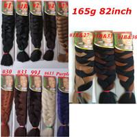 ultra trenzas al por mayor-Xpression Trenzado sintético Cabello 82inch 165g color único Ultra Braid Premium Kanekalon trenzas jumbo extensiones de cabello