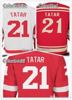 красная майка команды оптовых-Мужская сшитая мужская Tomas Tatar Ice Hockey Jersey Team Цвет Красный Белый высокое качество Tomas Tatar зима классический Джерси онлайн