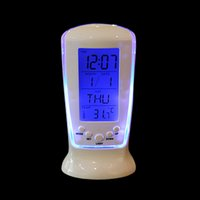 Wholesale Led Alarm Clock Digital Nz - Multi Functional Clock LED Calendar Thermometer Display Clock with Backlight Digital Home Desktop Table Clock Alarm Clock-NZ-510