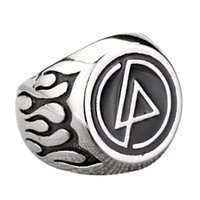 Acero Inoxidable 316L Never Fade Punk Rock Rocker Banda de Música Rock Fire Flame Jewelry Mens Ring Size 7-13