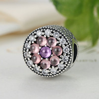 Wholesale Pink Cz Stone - Dazzling Floral Sterling Silver Charm with Shimmering Pink & Purple CZ and Puresse Cut Stones for Pandora Style Beaded Charm Bracelets S300