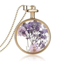 Wholesale Beautiful Perfume Bottles Wholesale - Succinct Flower Charms Necklace Plant Herbarium Necklace Crystal Glass Perfume Bottle Jewelry Christmas Gifts Beautiful Jewelry For Girl