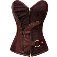 c874ee6e59b Plus Size Gothic Corsets And Bustiers Overbust Floral Designs Shapers  Zipper Corselet Steampunk Steel Bone Vest Slimming Corset 2315