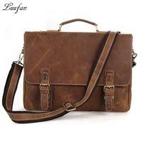 "Wholesale Laptop Shoulder Bag 16 - Wholesale- Men's crazy horse leather briefcase Brown 16"" Real leather laptop work tote cowhide business bag Cow leather PC shoulder bag"