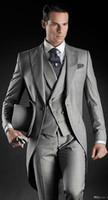 Wholesale Bestman Suits - 8 Style for choose Custom Made Groom Tuxedos Groomsmen Morning Style Bestman Peak Lapel Groomsman Men's Wedding Suits(Jacket+Pants+Tie+Vest)