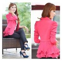 Wholesale Korean Blazers - S-5XL Hot 2016 new women Korean fashion slim short single button plus size spring autumn candy color lace blazer suit