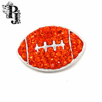 Wholesale Crystal Football Charms - 12pcs lots Orange Crystal Rugby Football Snap Button Charm Jewelry 18mm Interchangeable Fits Ginger Snaps Bracelet SB289