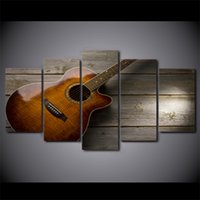 Wholesale Picture Guitars - 5 Pcs Set Framed Printed Classical Guitar Painting Poster Home Wall Decor Canvas Picture Art HD Print Painting Artworks