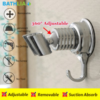 Wholesale Shower Head Brackets - Wholesale- Adjustable Elegant Sucker Shower Head Stand Bracket Holder With Towel Hook For Bathroom Wall Mounted by Vacuum Suction Cup