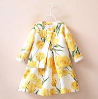 Wholesale Children Elegant Coat - Beautiful Baby Kids Clothing 2016 Children 2pcs Sets Pretty Tulip Vest Dress + Coat Perfect Outfits Elegant Girls Yellow Suits Lovely 9306