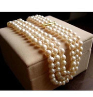 Wholesale Pearl Necklace Three Strand - Three strands AAA 9-10mm round south sea white pearl necklace 18-20 inch 14k gold clasp