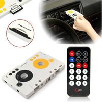 lecteur mp3 cassette usb achat en gros de-Retro Car Telecontrol Cassette Audio Cassette Carte mémoire SD MMC Lecteur MP3 Adaptateur Kit avec télécommande Portable USB Cassette de voiture Lecteur MP3