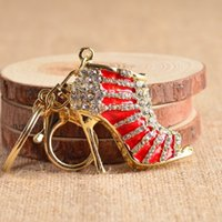 Wholesale high heels keychains - 2016 hot sale 1 pc Crystal Shoe High Heel Keyring Rhinestone Purse Charm Pendant Bag Key Chain Gift