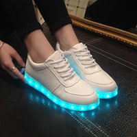 Wholesale Printed Glow - 2016 Fashion High Quality Led Shoes For Adult USB Charging Men & Women Casual Shoes Glowing Unisex Lovers Light Shoes DHL free shipping