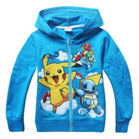 Wholesale Children Hoodies Sweat - 2016 Pikachu Kids Zipper Hoodie Coat Children Jacket Boys Girls Cartoon Hooded Outfit children Hoodies Sweat shirts Free Shipping A388