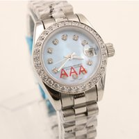 Wholesale Diamond Platinum - Top seller Unisex Wristwatch Full Stainless Steel Diamonds Platinum Belt Light Blue Face top quality mechanical watch women's watch