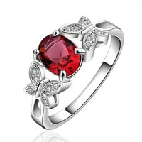 Wholesale Ring Double Silver - Double Butterfly Style Ruby Red & Champagne Zircon Imitate gemstone Jewelry Ring as a Christmas Gift on Whloesale