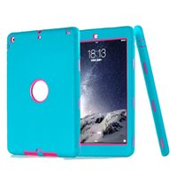 Wholesale Ipad Cases Designs - For iPad Pro 10.5 2017 9.7 Air Mini 1 2 3 Combo Robot Design 3 In 1 iPad Case Hybrid Silicone PC High Impact Resistant Cover OppBag