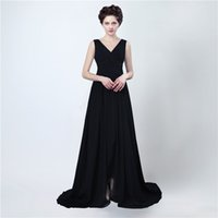 Wholesale Mae Noiva - Free Shipping Long Evening Gowns Vestido Mae Da Noiva 2017 Sexy Split Black Chiffon Prom Dress Women Evening Dresses