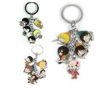 Wholesale Attack Titan Rings - Attack on Titan Keychains Eren Jaeger Mikasa Ackerman Erwin Smith small doll Metal Figures Pendants Charms With Key Ring Tags