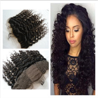 Peruanischen Menschenhaar Curly Seide Base Lace Frontal Closure 13x4 Deep Curly Seide Top Ohr bis Ohr Full Lace Frontal mit Baby Haar