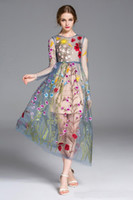 Wholesale Runway Boutique - Hot full wrap embroidery colorful flower sun long sleeve gauze runway formal dress mesh maxi boutique dress big show catwalk full dress