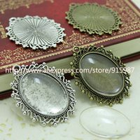 Wholesale Clear Glass Cameo Pendant - Wholesale (10 set lot) two color filigree cameo cabochon 18*25mm base setting pendant tray + clear glass cabochons D0111