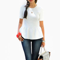 Wholesale Temperament White Korean Blouse - Korean Style Women Blouses Short Sleeve Temperament Ruffles Tops Fashion Office Lady Slim Work Wear Summmer Blouse