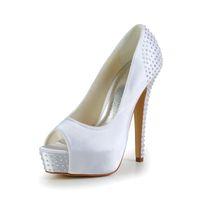 белая атласная обувь из горного хрусталя оптовых-Стразы Блестящий Белый Цвет Супер Высокий Каблук Peep Open Shoe Toe С Толстой Платформой Dyeable Атласная Dyeable Женщины Свадебные Туфли