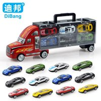 Wholesale Brand cars toy car alloy car toys set child model portable container boxes with Christmas gift