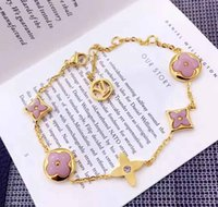 Wholesale Top Charm Bracelet Brands - Top brand name 316L stainless steel charm bracelet chain with white and pink shell for women Brand jewelry free shipping PS5201