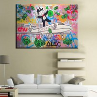 Wholesale Oil Painting Fly - ZZ230 1 pcs Graffiti painting Fly Money By Alec Monopoly Wall Decorate Pictures Arts oil painting On Canvas Unframed for living room