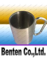 Wholesale Stainless Steel Carabiner Mug - very cheap Stainless Steel Coffee Mug Camp Camping Cup Carabiner Hook Double Wal mug Free Shipping LLFA