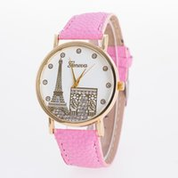 Wholesale Geneva Student Watches - 1000pcs Fashion Leather Watches Geneva Eiffel Tower Watch Women Quartz Watches Casual Lady Wrist watches For women Students Watch