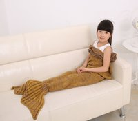 Wholesale Condition Yellow - 2016 New Children Blankets Girls tiered falbala Crochet Knit Mermaid Tail swaddling chilren sofa blackets air conditioning swaddling A9432