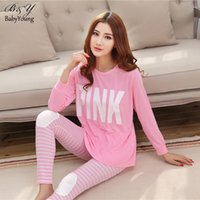 Wholesale Womens Sleepwear Wholesale - Wholesale-Summer Woman Pajama Sets Fashion PINK O-Neck Long Sleeve Womens Pajamas Milk Silk Homewear For Women Sleepwear Mujer Bathrobe