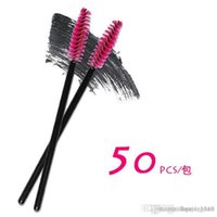 Wholesale Cheap Hair Styling Tools - 50 pcs One-Off Disposable Eyelash Brush Applicator Cheap Wand makeup Brushes eyes care make up styling tools Free Shipping