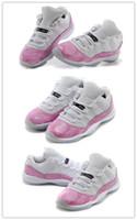 zapatos de nylon rosa al por mayor-Barato al por mayor nuevo 11 Low Pink Snakeskin Womens Basketball Shoes GS zapatos deportivos de alta calidad venta caliente barato envío gratis