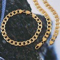 gold gefüllt 24k schmuck großhandel-Schmuck-Set 24k Gelbgold gefüllt Damen Herren Halskette Armband Set 8mm breit