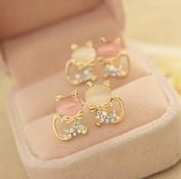 Wholesale Cat Crystal Stud Earrings Gold - Fashion Jewelry Women Cat's Eye Ear Studs Earrings Cute Cat Pattern Elegant Crystal Rhinestone Earring OL Delicate Drill Eardrop Studs