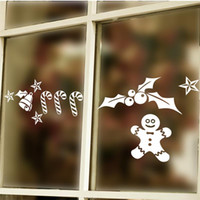 Wholesale Xmas Window Stickers - 2016 xmas Snowman Bell star wall sticker xmas40 new year party window decals new year party gift