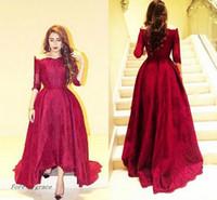 Wholesale Event Gowns - 2017 Wine Red Long Evening Dress Dubai Kaftan With Seeves Dress Formal Event Gown Plus Size robe de soire vestido de festa longo