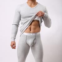Wholesale thick warm winter mens shirts - Wholesale-2016 Men Winter Warm Fleece Thermal Underwear Sets Mens Long Johns Sexy Thermal Underwear Sets Thick Velet Long Johns For Man