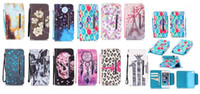 Wholesale Soft Leather 4s Card - 2016 Printed more card slot Human skeleton Flowers leopard Imagery Leather TPU Soft wallet Cover for iphone 4S 5C 5S SE 6S PLUS